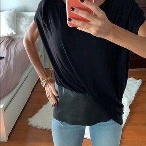 Bailey 44black shirt leather like detail on bottom